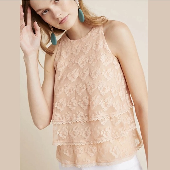 Anthropologie Tops - Anthropologie Size 10 Sleeveless Teared Lace Top